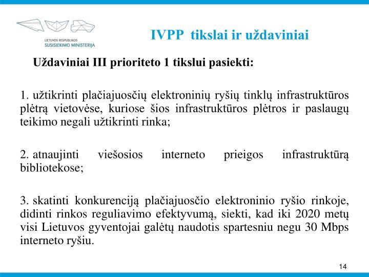 IVPP  tikslai ir uždaviniai