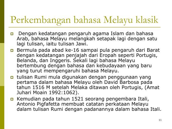 Perkembangan bahasa Melayu klasik