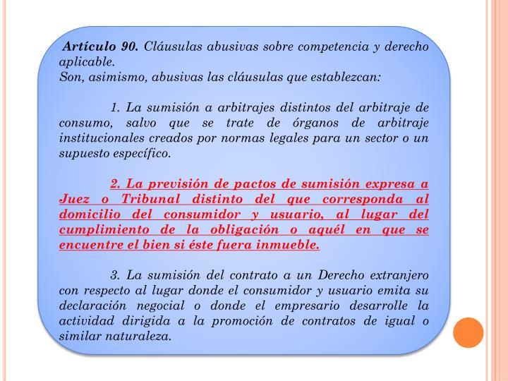Artículo 90.