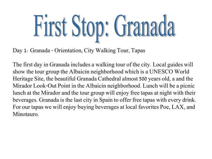 First Stop: Granada