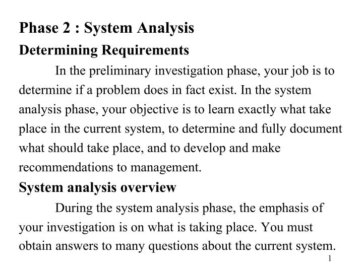 Phase 2 : System Analysis
