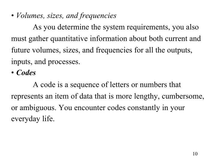 Volumes, sizes, and frequencies