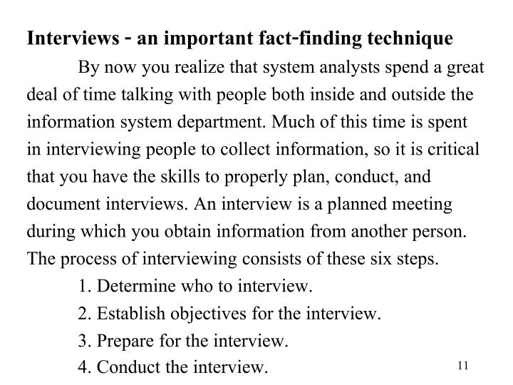 Interviews - an important fact-finding technique