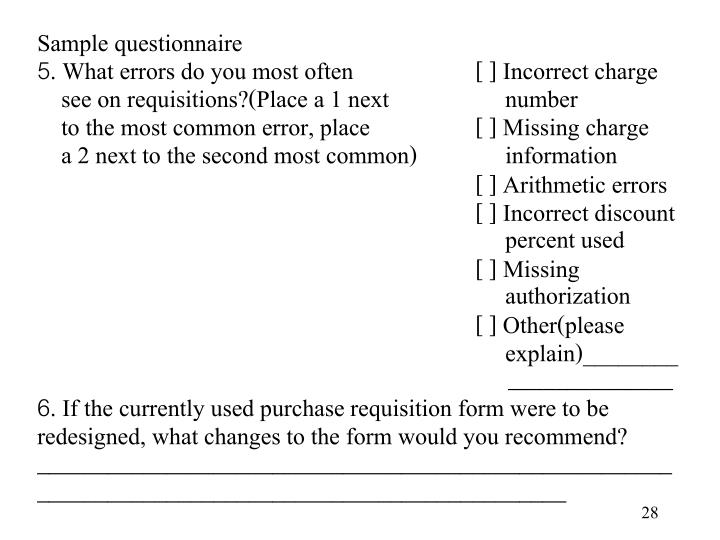 Sample questionnaire