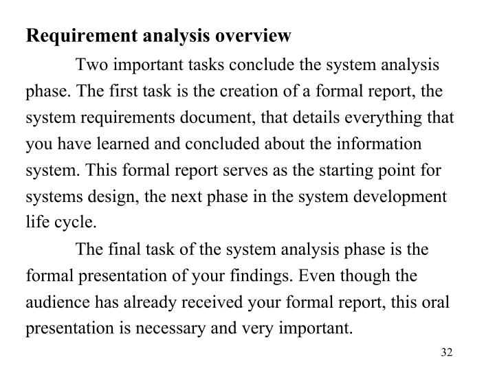 Requirement analysis overview