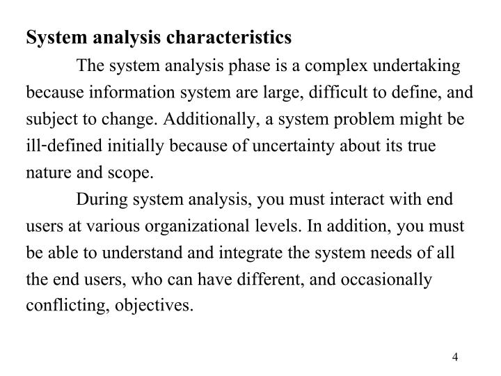 System analysis characteristics