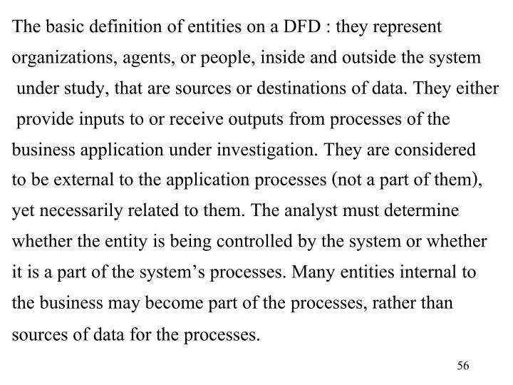 The basic definition of entities on a DFD : they represent