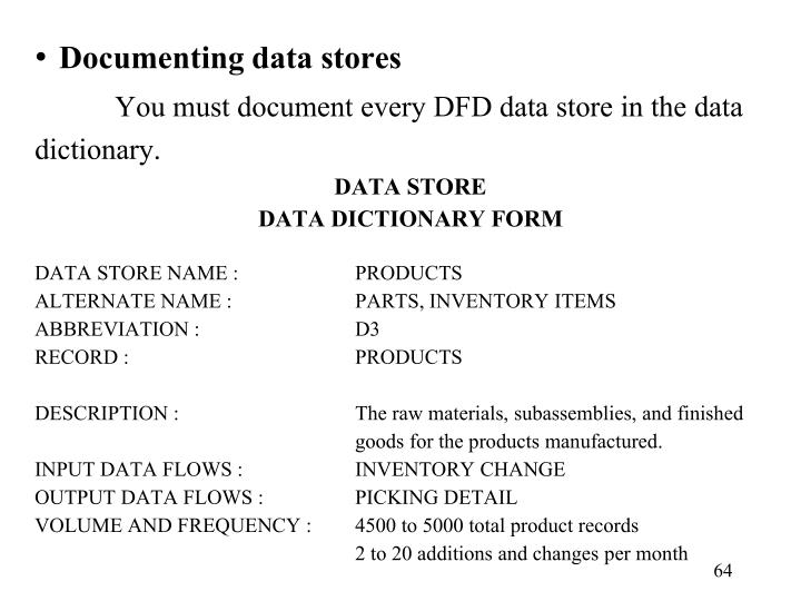 Documenting data stores
