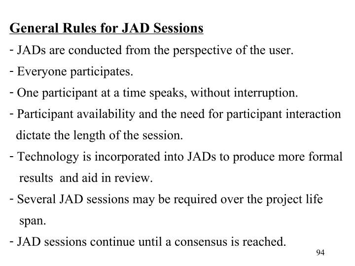 General Rules for JAD Sessions