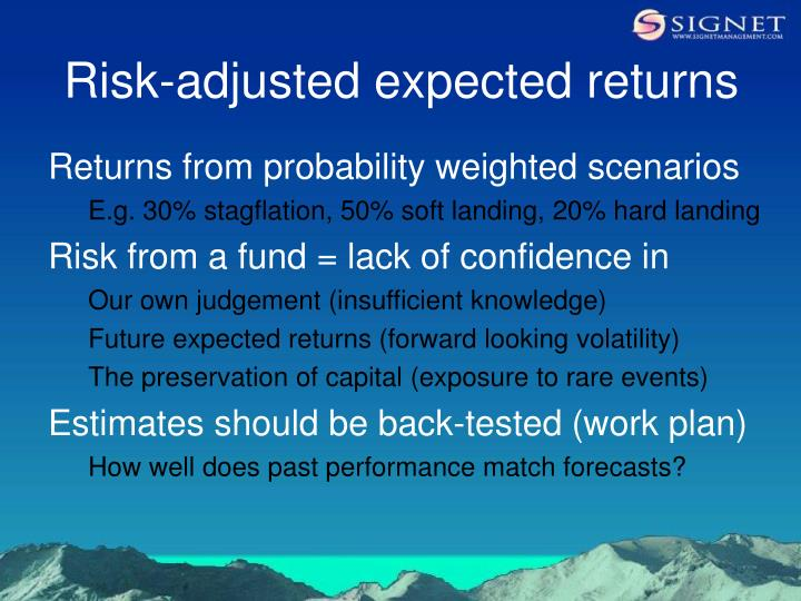 Risk-adjusted expected returns