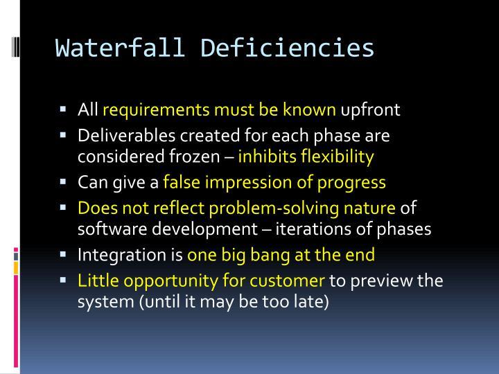 Waterfall Deficiencies