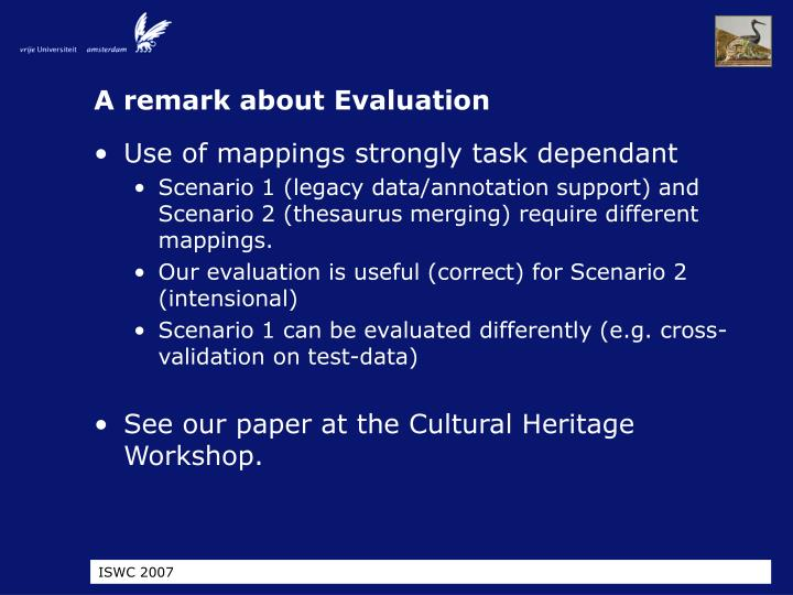 A remark about Evaluation