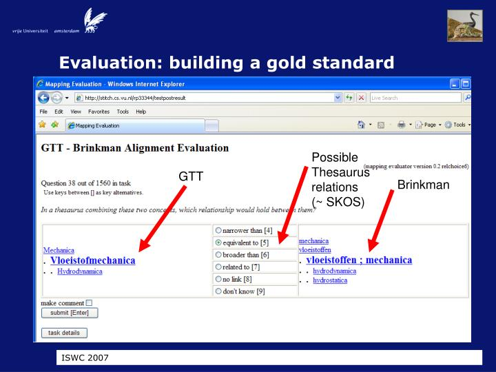 Evaluation: building a gold standard