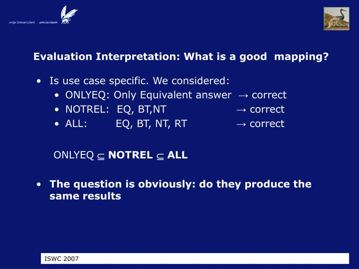 Evaluation Interpretation: What is a good  mapping?