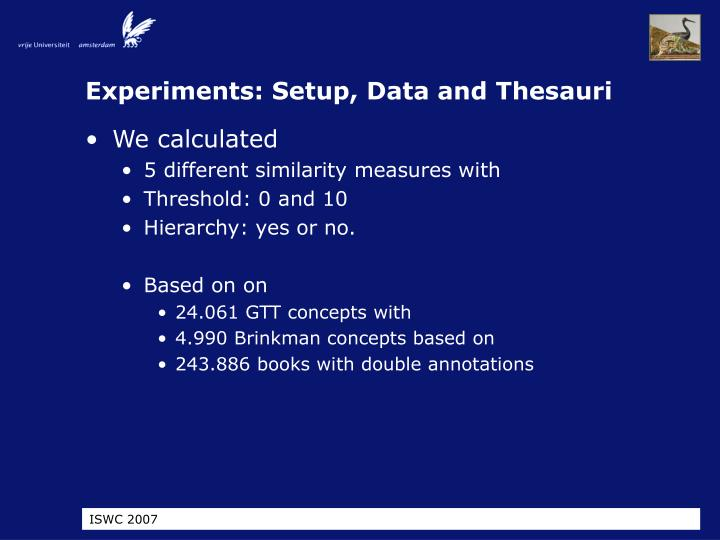 Experiments: Setup, Data and Thesauri