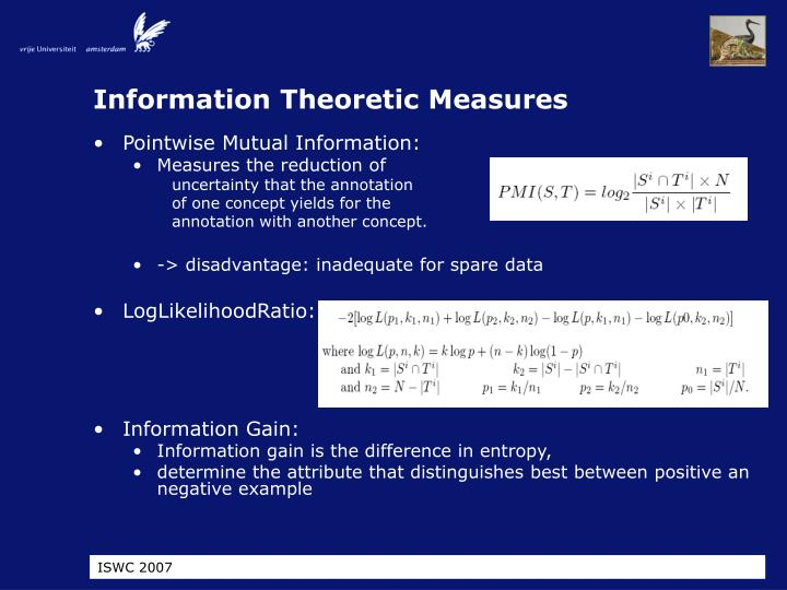 Information Theoretic Measures