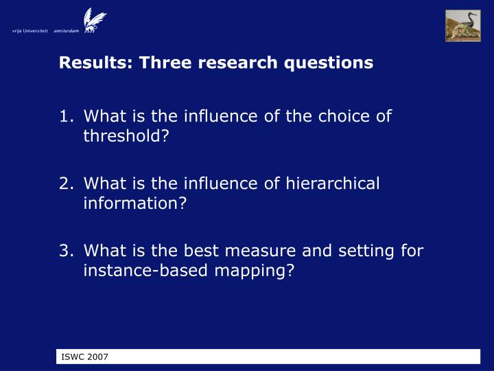 Results: Three research questions