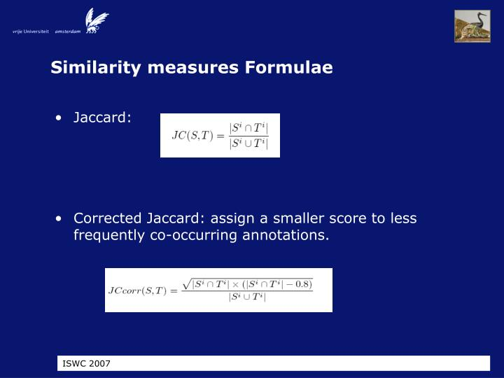 Similarity measures Formulae