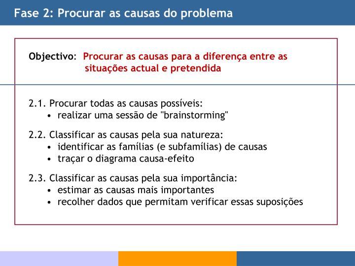 Fase 2: Procurar as causas do problema