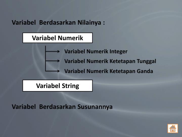Variabel  Berdasarkan Nilainya :
