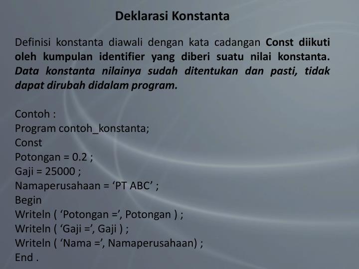 Deklarasi Konstanta