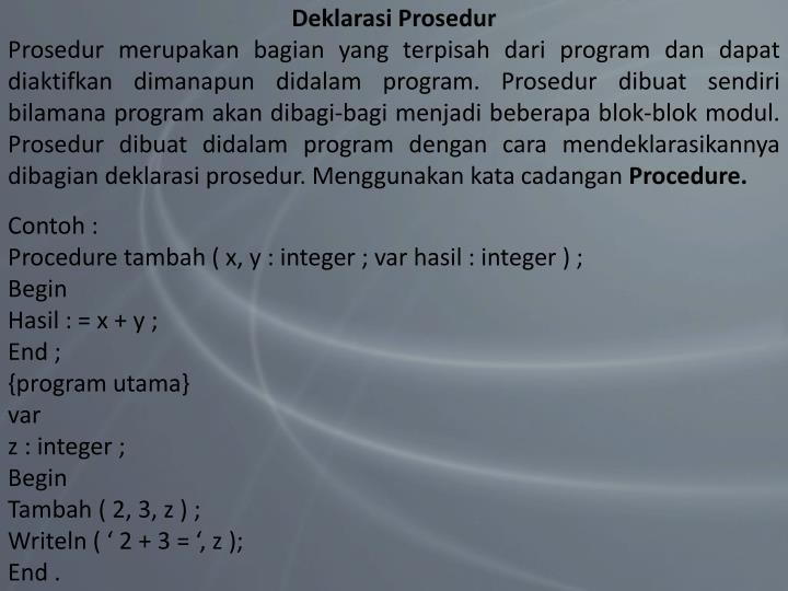 Deklarasi Prosedur