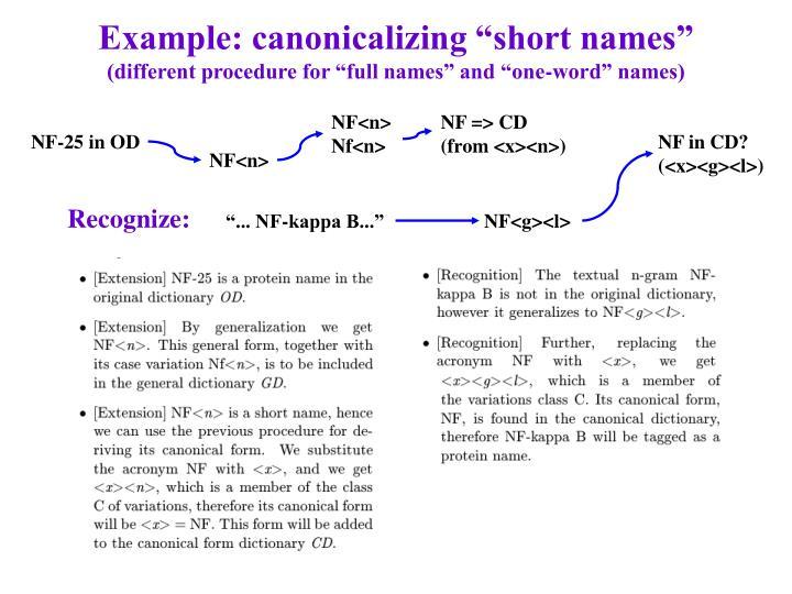 """Example: canonicalizing """"short names"""""""