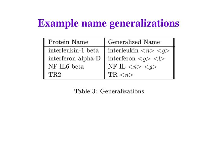 Example name generalizations