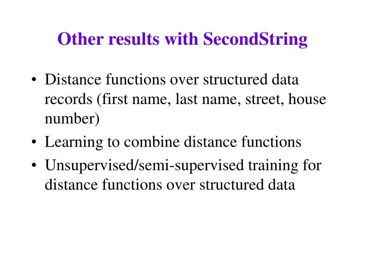 Other results with SecondString