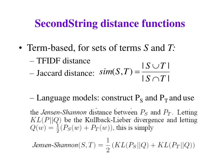 SecondString distance functions