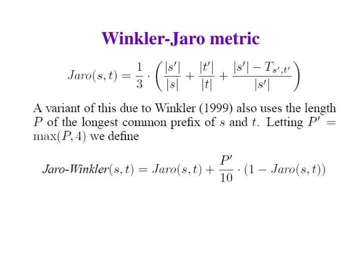 Winkler-Jaro metric