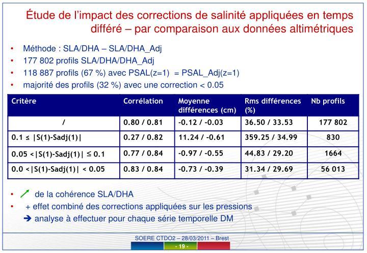 Étude de l'impact des corrections de salinité appliquées en temps différé – par comparaison aux données altimétriques