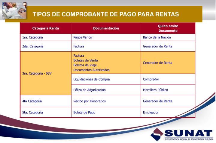 TIPOS DE COMPROBANTE DE PAGO PARA RENTAS