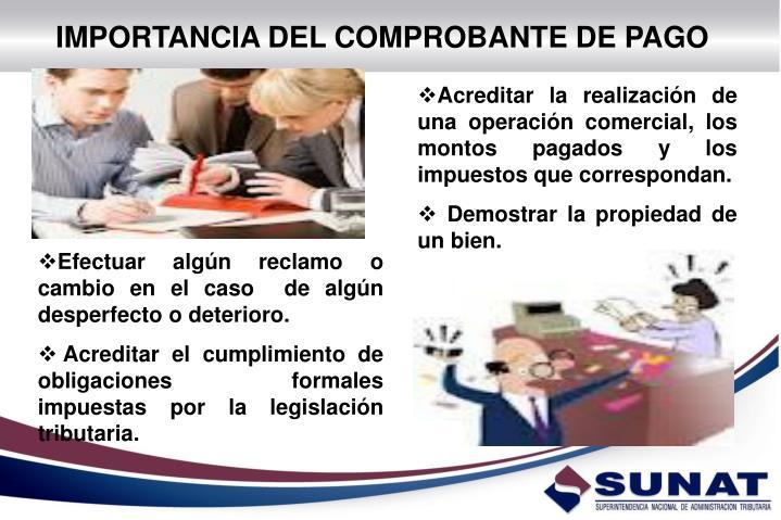 IMPORTANCIA DEL COMPROBANTE DE PAGO