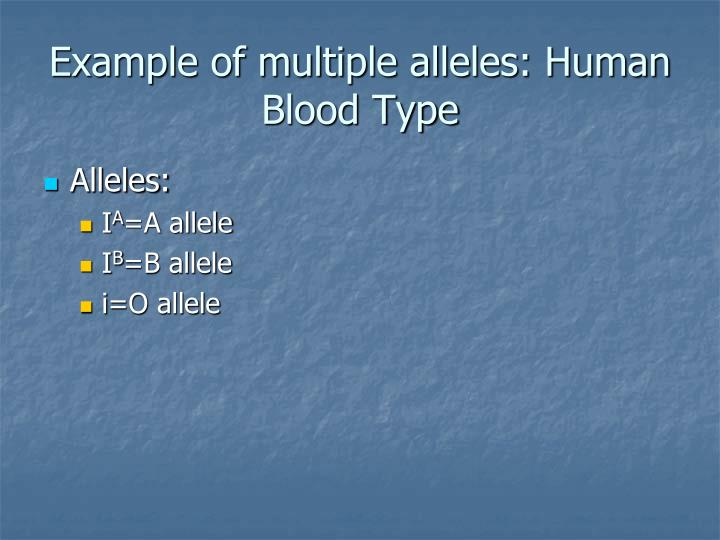 Example of multiple alleles: Human Blood Type