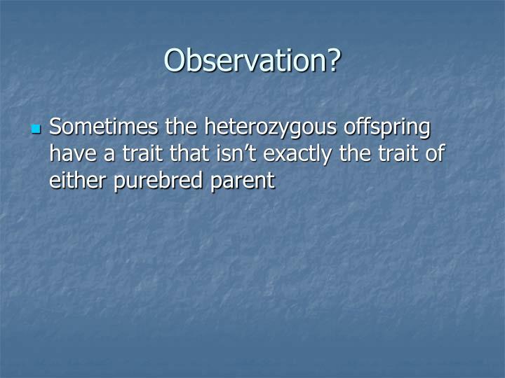 Observation?