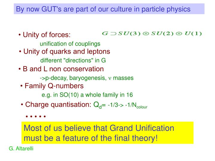 By now GUT's are part of our culture in particle physics