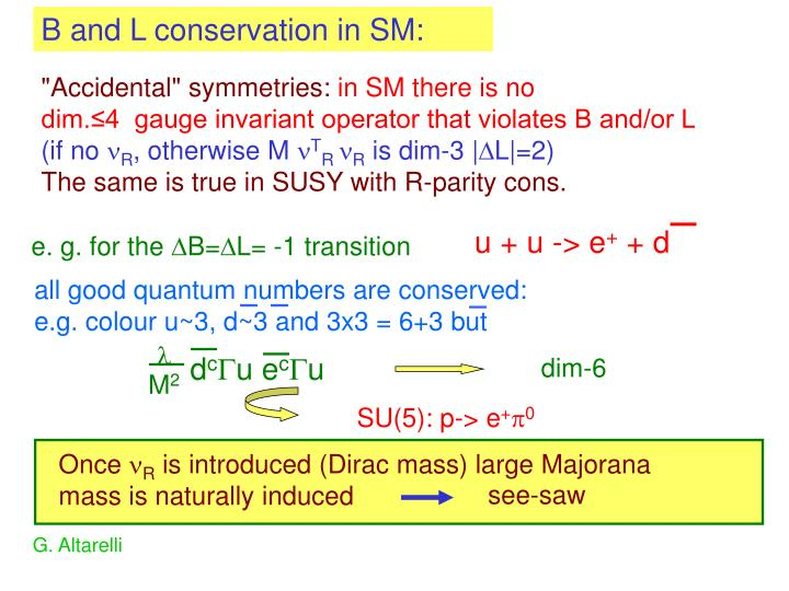 B and L conservation in SM: