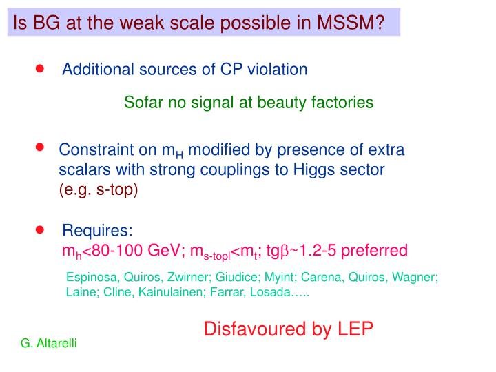 Is BG at the weak scale possible in MSSM?
