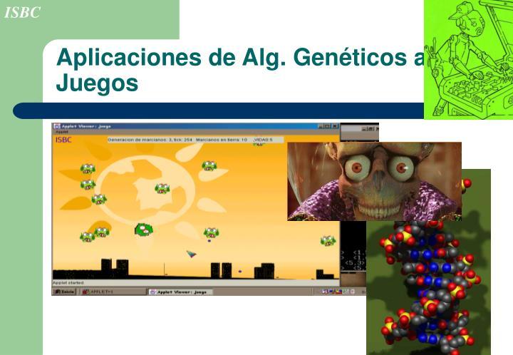 Aplicaciones de Alg. Genéticos a Juegos