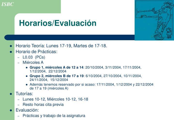 Horarios/Evaluación