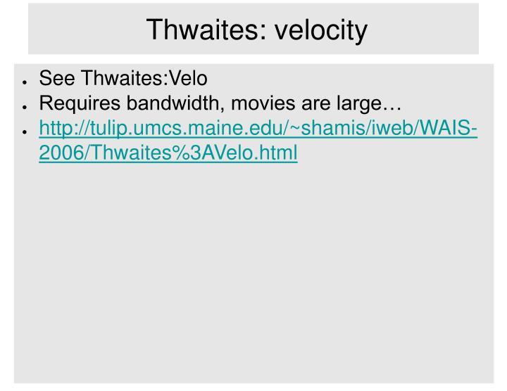 Thwaites: velocity