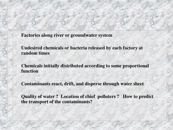 Factories along river or groundwater system