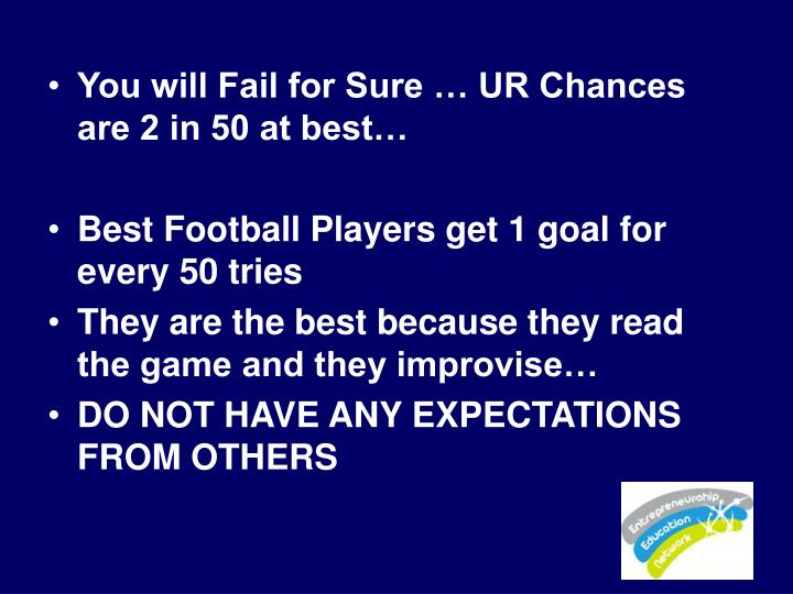 You will Fail for Sure … UR Chances are 2 in 50 at best…
