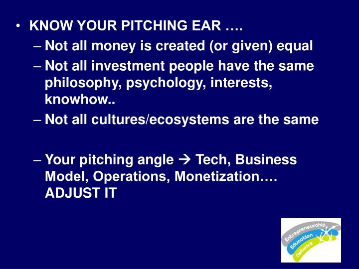 KNOW YOUR PITCHING EAR ….