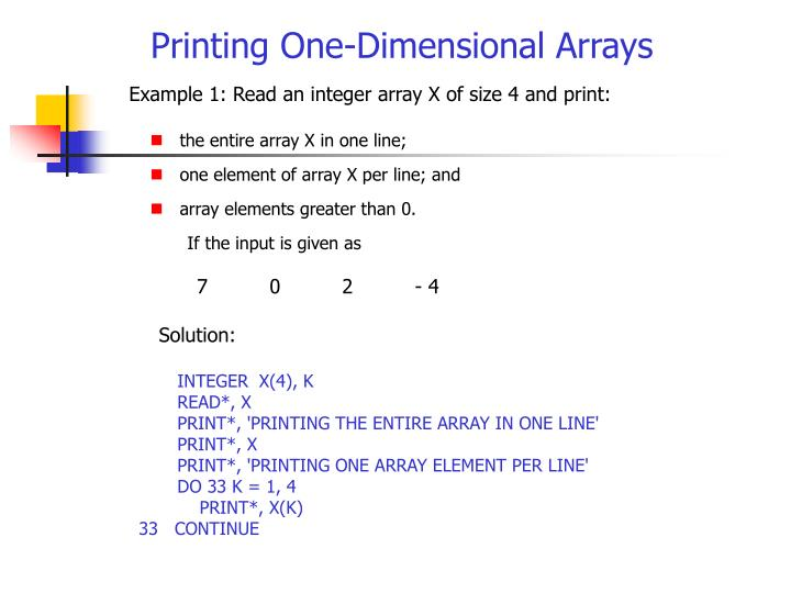 Printing One-Dimensional Arrays