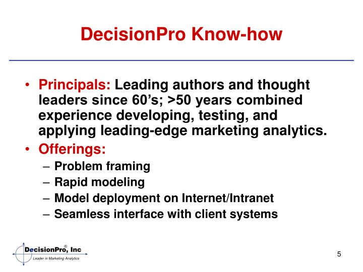 DecisionPro Know-how
