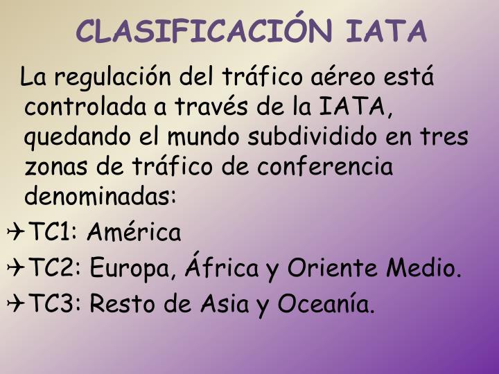 CLASIFICACIÓN IATA