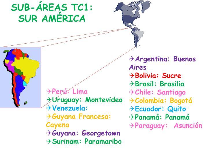 SUB-ÁREAS TC1: SUR AMÉRICA