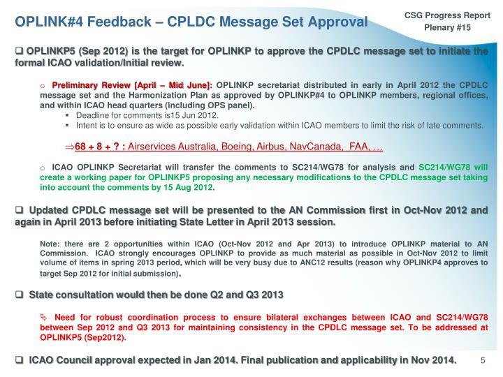 OPLINK#4 Feedback – CPLDC Message Set Approval